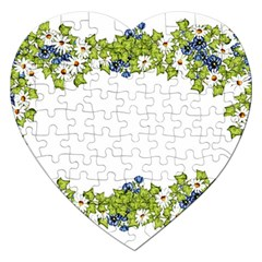 Birthday Card Flowers Daisies Ivy Jigsaw Puzzle (heart) by Nexatart