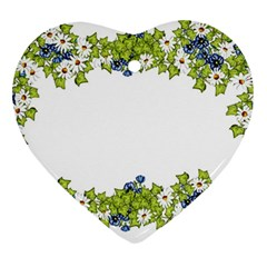 Birthday Card Flowers Daisies Ivy Heart Ornament (two Sides) by Nexatart
