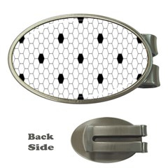 Black White Hexagon Dots Money Clips (oval)  by Mariart