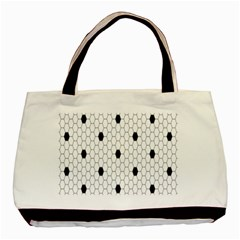 Black White Hexagon Dots Basic Tote Bag by Mariart