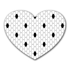 Black White Hexagon Dots Heart Mousepads by Mariart