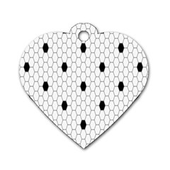 Black White Hexagon Dots Dog Tag Heart (two Sides)