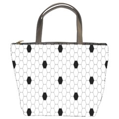 Black White Hexagon Dots Bucket Bags by Mariart