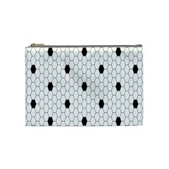 Black White Hexagon Dots Cosmetic Bag (medium)