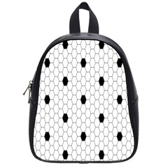 Black White Hexagon Dots School Bags (small)  by Mariart