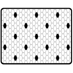 Black White Hexagon Dots Fleece Blanket (medium)  by Mariart