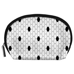 Black White Hexagon Dots Accessory Pouches (large)  by Mariart