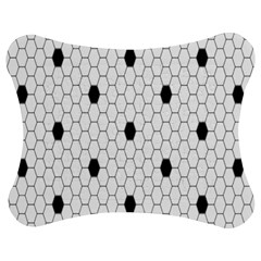 Black White Hexagon Dots Jigsaw Puzzle Photo Stand (bow) by Mariart