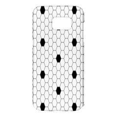 Black White Hexagon Dots Samsung Galaxy S7 Edge Hardshell Case by Mariart