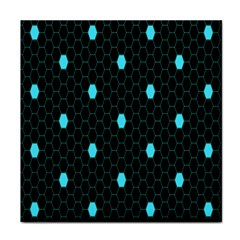 Blue Black Hexagon Dots Tile Coasters by Mariart