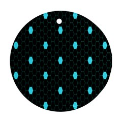 Blue Black Hexagon Dots Ornament (round) by Mariart