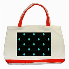 Blue Black Hexagon Dots Classic Tote Bag (red) by Mariart