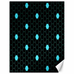 Blue Black Hexagon Dots Canvas 12  X 16   by Mariart