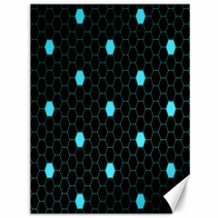 Blue Black Hexagon Dots Canvas 36  X 48   by Mariart