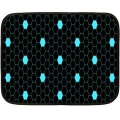 Blue Black Hexagon Dots Fleece Blanket (mini) by Mariart
