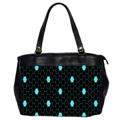 Blue Black Hexagon Dots Office Handbags (2 Sides)  by Mariart