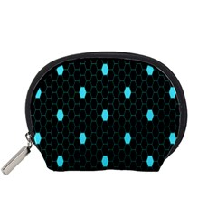 Blue Black Hexagon Dots Accessory Pouches (small)  by Mariart