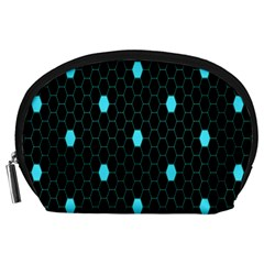 Blue Black Hexagon Dots Accessory Pouches (large)  by Mariart