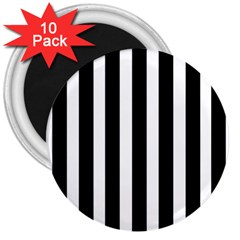 Black White Line Vertical 3  Magnets (10 Pack)  by Mariart