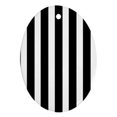 Black White Line Vertical Oval Ornament (two Sides) by Mariart