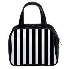 Black White Line Vertical Classic Handbags (2 Sides) by Mariart