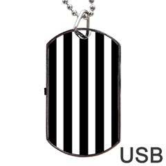 Black White Line Vertical Dog Tag Usb Flash (two Sides) by Mariart