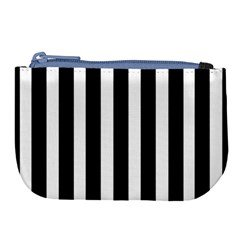 Black White Line Vertical Large Coin Purse