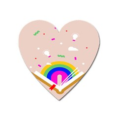 Books Rainboe Lamp Star Pink Heart Magnet by Mariart