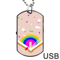 Books Rainboe Lamp Star Pink Dog Tag Usb Flash (two Sides) by Mariart
