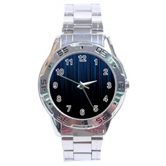 Black Blue Line Vertical Space Sky Stainless Steel Analogue Watch by Mariart