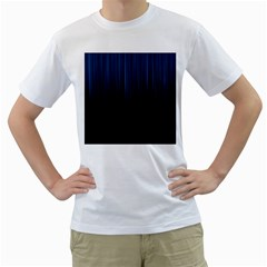 Black Blue Line Vertical Space Sky Men s T Shirt (white)
