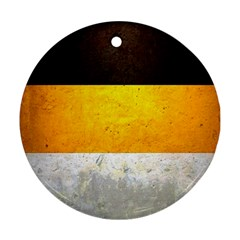 Wooden Board Yellow White Black Ornament (round) by Mariart