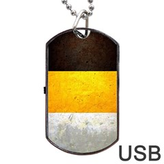Wooden Board Yellow White Black Dog Tag Usb Flash (one Side) by Mariart