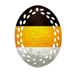 Wooden Board Yellow White Black Oval Filigree Ornament (two Sides) by Mariart