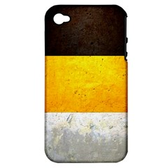 Wooden Board Yellow White Black Apple Iphone 4/4s Hardshell Case (pc+silicone) by Mariart