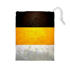 Wooden Board Yellow White Black Drawstring Pouches (large)  by Mariart
