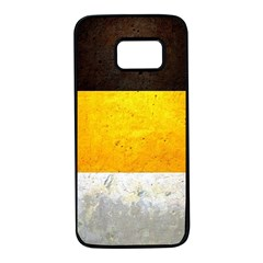 Wooden Board Yellow White Black Samsung Galaxy S7 Black Seamless Case by Mariart
