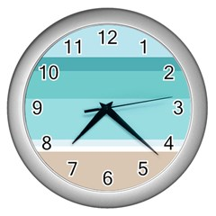 Dachis Beach Line Blue Water Wall Clocks (silver)  by Mariart