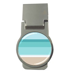 Dachis Beach Line Blue Water Money Clips (round)  by Mariart
