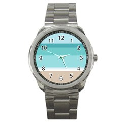 Dachis Beach Line Blue Water Sport Metal Watch by Mariart