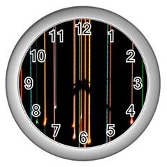 Fallen Christmas Lights And Light Trails Wall Clocks (silver)  by Mariart