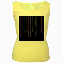 Falling Light Lines Perfection Graphic Colorful Women s Yellow Tank Top by Mariart