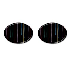 Falling Light Lines Perfection Graphic Colorful Cufflinks (oval) by Mariart