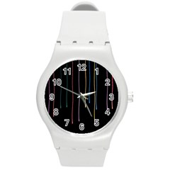 Falling Light Lines Perfection Graphic Colorful Round Plastic Sport Watch (m) by Mariart