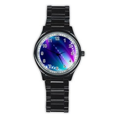 Flow Blue Pink High Definition Stainless Steel Round Watch
