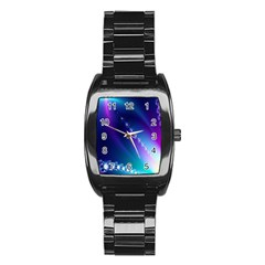 Flow Blue Pink High Definition Stainless Steel Barrel Watch by Mariart