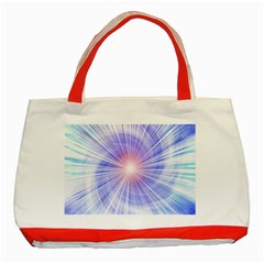 Creation Light Blue White Neon Sun Classic Tote Bag (red) by Mariart