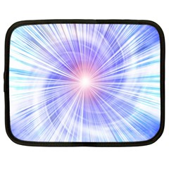 Creation Light Blue White Neon Sun Netbook Case (xl)  by Mariart