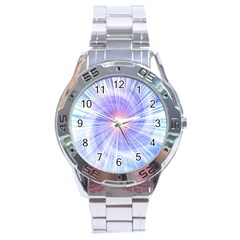 Creation Light Blue White Neon Sun Stainless Steel Analogue Watch by Mariart