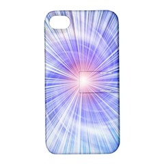 Creation Light Blue White Neon Sun Apple Iphone 4/4s Hardshell Case With Stand by Mariart